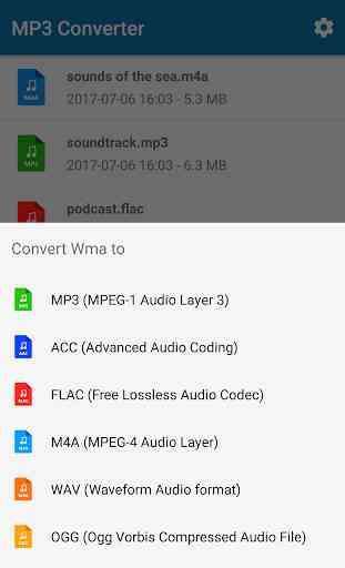 MP3 Conversor (música ogg flac wav wma aac) 2