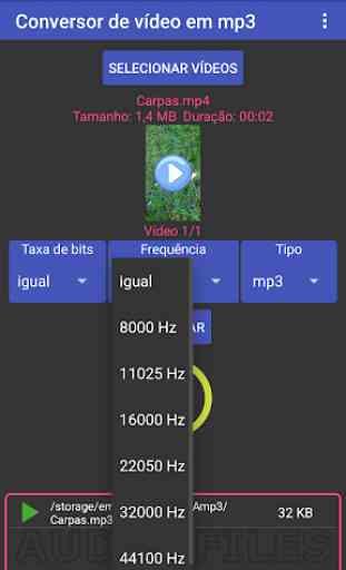 Multi-conversor de vídeo em mp3, mp2, aac ou wav 2