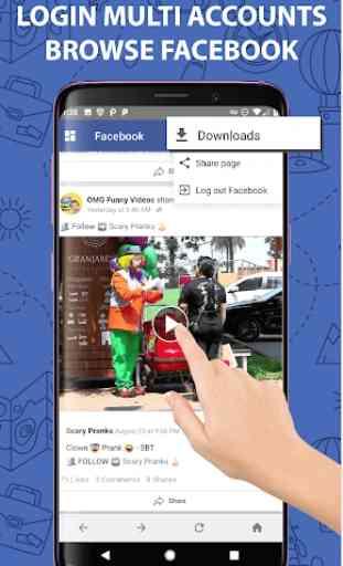 Multi FB: Conta múltipla e Video Downloader 3