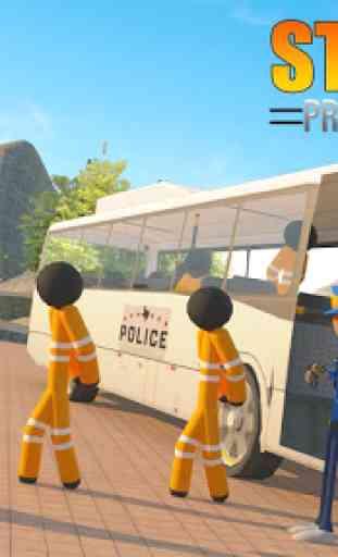 Transporte Stickman Prisioneiro Ônibus Dirigindo 1