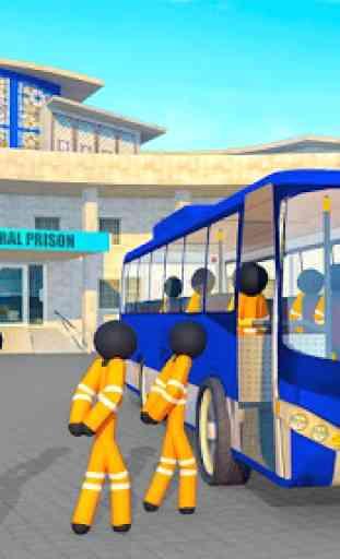 Transporte Stickman Prisioneiro Ônibus Dirigindo 4
