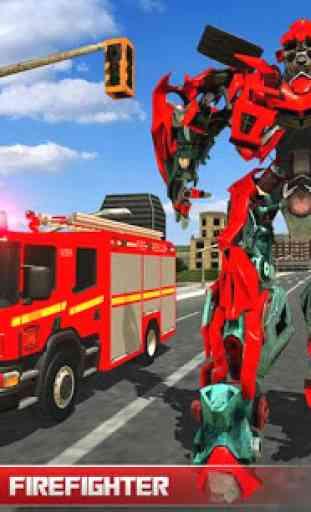 911 caminhão de bombeiro real robot transformation 1